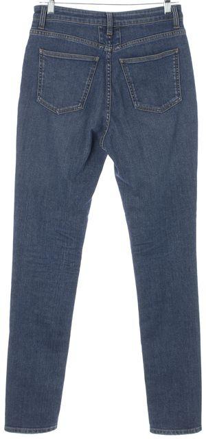 SAINT LAURENT Blue Medium Wash Cotton Denim High Rise Skinny Jeans
