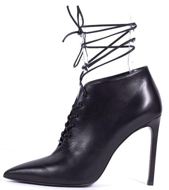 SAINT LAURENT Black Leather Lace Up Heel Booties Ankle Boots