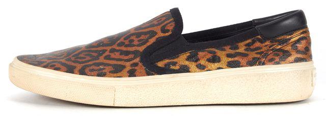 SAINT LAURENT Brown Leopard Print Coated Canvas Slip-On Sneakers