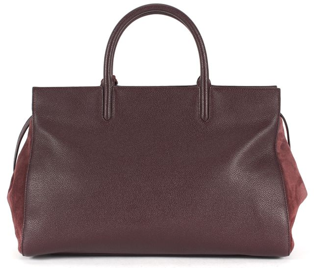 SAINT LAURENT Burgundy Red Pebbled Leather Suede Rive Gauche Satchel Bag