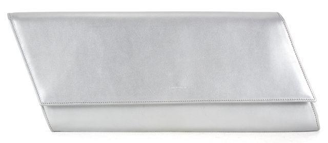 SAINT LAURENT Silver Leather Borsa Diagonal Classic Clutch
