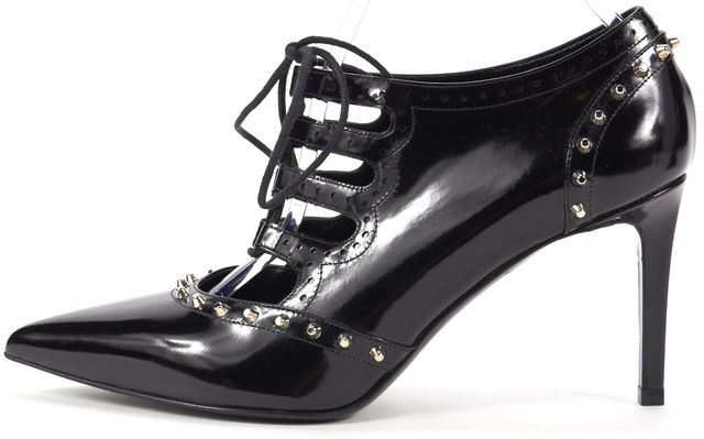SAINT LAURENT /NWB Black Studded Leather Lace Ups Heels