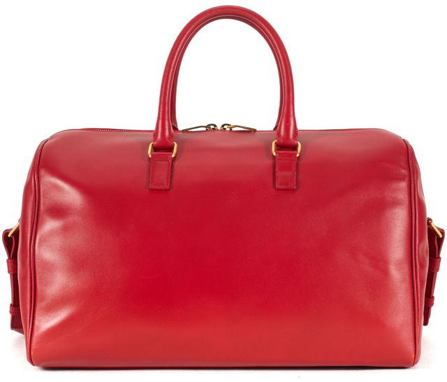 SAINT LAURENT Red Leather Classic Duffle 12 Satchel