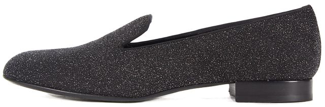 SAINT LAURENT NWB Black Moon Silver Metallic Slippers Loafers