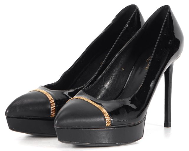 SAINT LAURENT Black Patent Leather Janis Chain Platform Heels