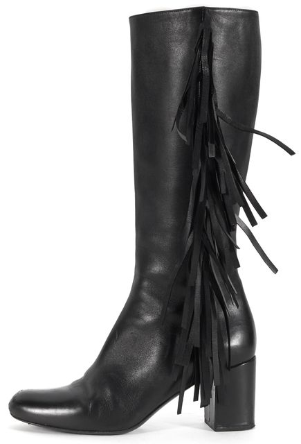 SAINT LAURENT Black Leather Fringe Knee-High Tall Boots Size 8.5 EU 38.5