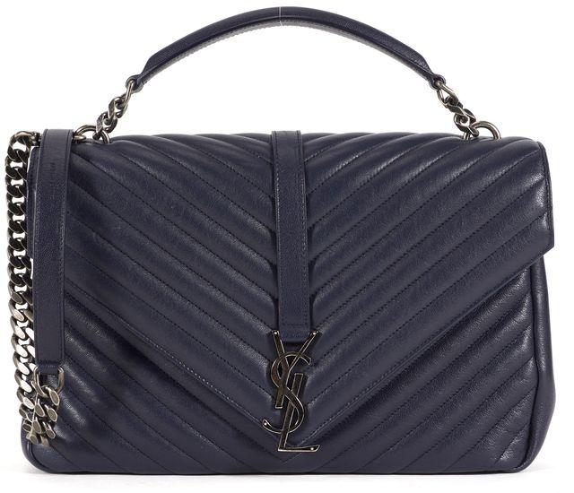 SAINT LAURENT Navy Blue Quilted Leather Large Matelasse College Shoulder Bag