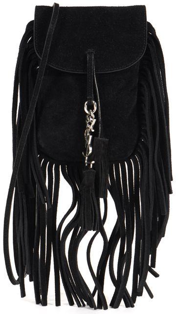 SAINT LAURENT Black Suede Fringe Toy Anita Flat Shoulder Bag Crossbody
