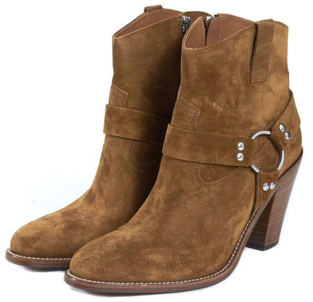 SAINT LAURENT Brown Suede Stacked Heel Buckle Trim Ankle Boots