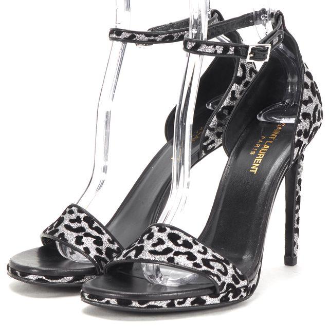 SAINT LAURENT Black Sliver Cheetah Print Glitter Sandal Heels