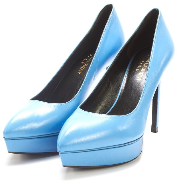 SAINT LAURENT Blue Leather Pump Heels