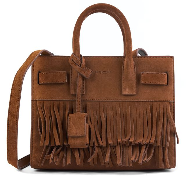 SAINT LAURENT Tan Brown Suede Fringe Nano Sac De Jour Top Handle Bags