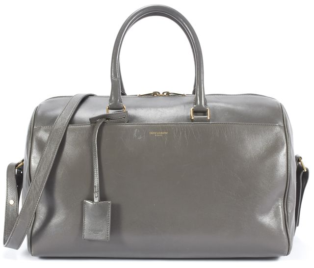 SAINT LAURENT Gray Leather 12 Hour Duffle Satchel Bag