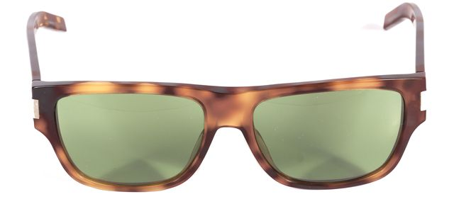 SAINT LAURENT YVES SAINT LAURENT Brown Tortoise Shell Acetate Sunglasses