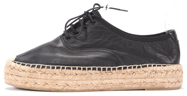 SAINT LAURENT Black Beige Leather Espadrille Lace Ups Sneakers Size 8.5 IT 38.5