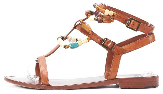 SAINT LAURENT Brown Bead Embellished Leather Sandals
