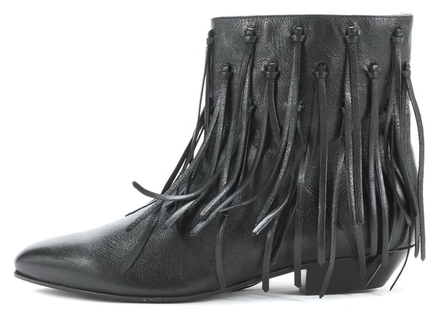 SAINT LAURENT Black Leather Fringe Detailing Ankle Boot Boots