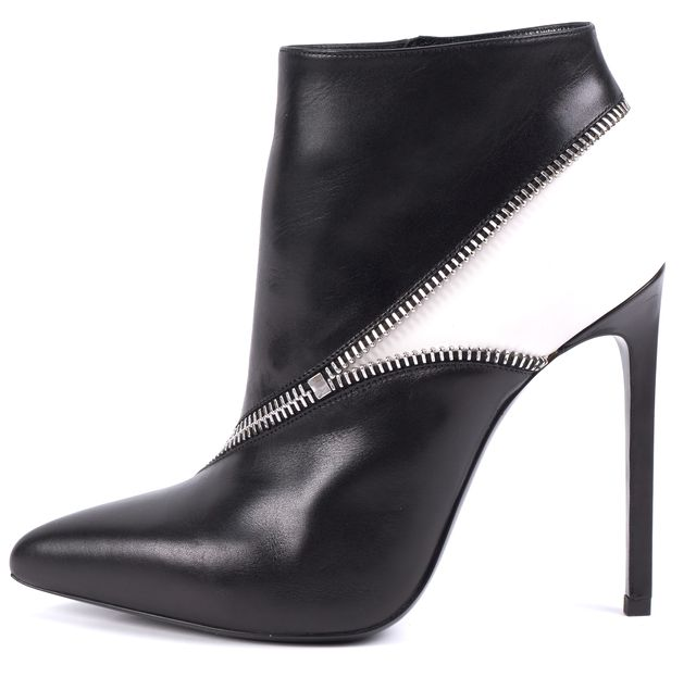 SAINT LAURENT Black/ White Colorblock Leather Ankle Bootie Boots
