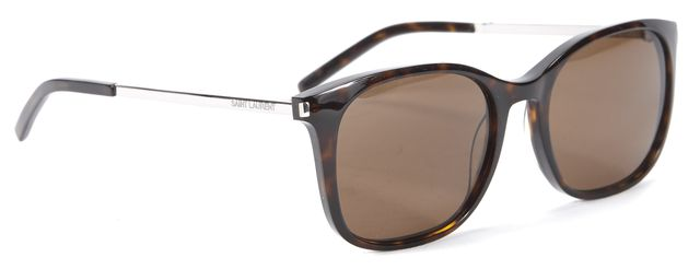 SAINT LAURENT Brown Tortoise Shell Logo metal & Acetate Square Sunglasses
