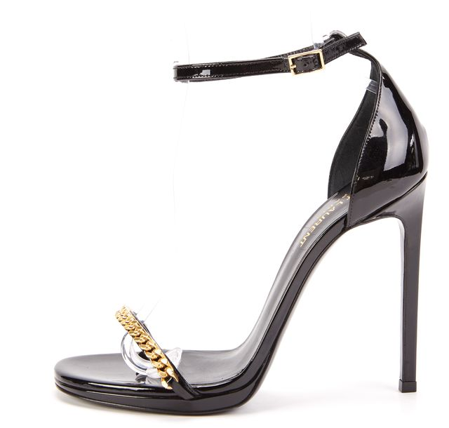 SAINT LAURENT Black Leather Jane Chain Link Sandal Stilettos
