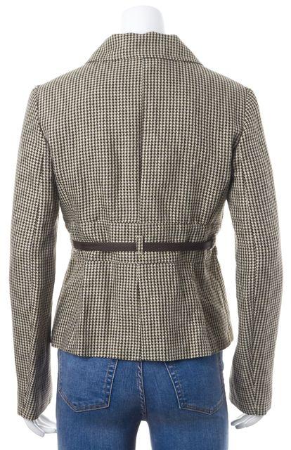 'S MAXMARA Brown Beige Houndstooth Linen Cotton Belted Blazer Jacket
