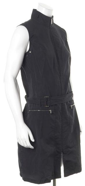 'S MAXMARA Black Sleeveless Mock Neck Zip Pocket Belted Sheath Dress