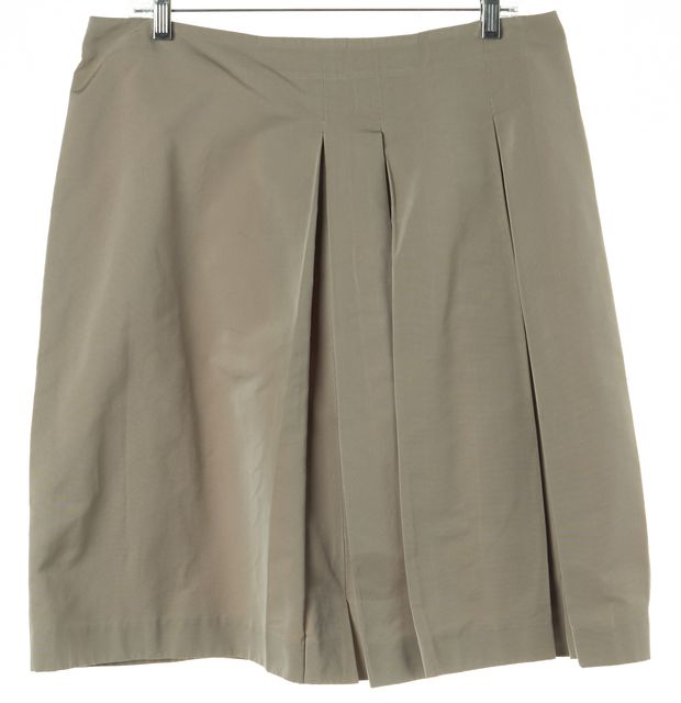 'S MAXMARA Beige Pleated Above Knee A-Line Skirt Size