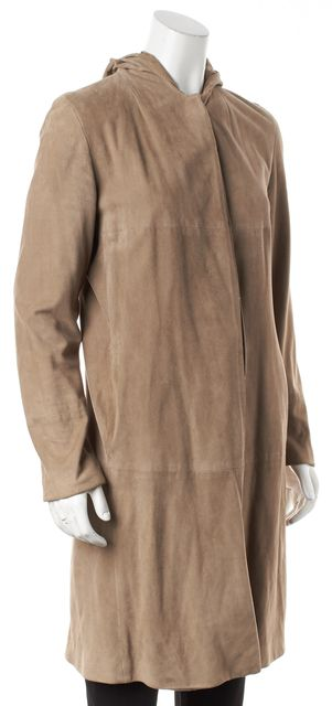 'S MAXMARA Beige Suede Leather Button Down Hooded Jacket