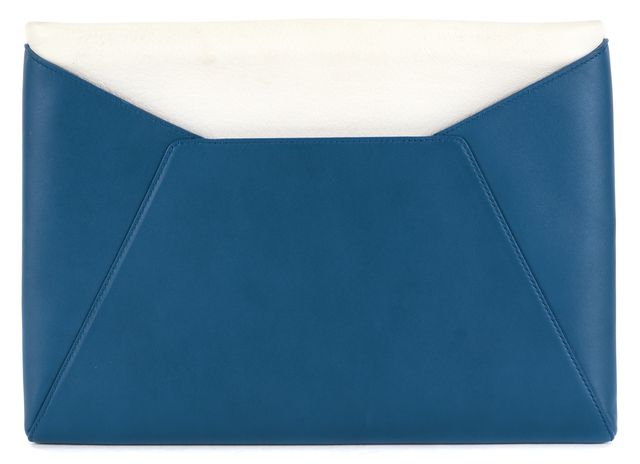 SMYTHSON Teal Green Cream Color Block Leather Clutch
