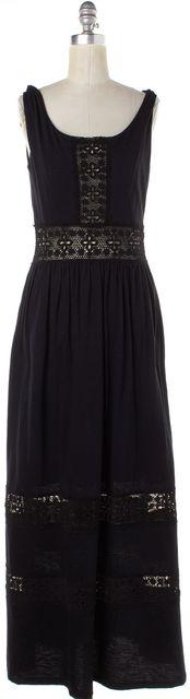 SEA NY Black Crochet Sleeveless Maxi Dress