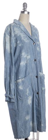 SEA NY Blue White Bleached Cotton Denim Striped Long Lightweight Jacket