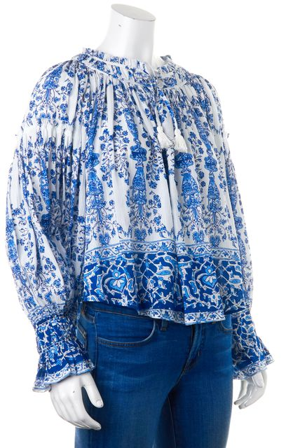 SEA NY White Blue Porcelain Print Ines Smocked Peasant Blouse Top