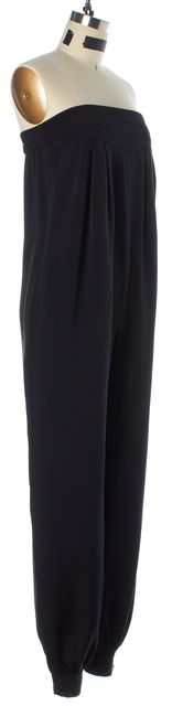 SEA NY Black Silk Strapless Tapered Leg Jumpsuit