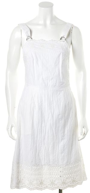 SEA NY White Embroidered Crinkle Textured Cotton Sundress