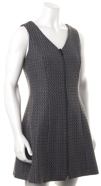 SEA NY Charcoal Gray Wool Sleeveless Zip Front Fit & Flare Dress