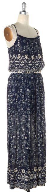 SEA NY Dark Navy Blue Ivory Paisley Pattern Blouson Maxi Dress