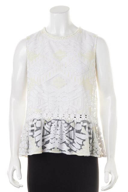SEA NY White Embroidered Lace Sleeveless Semi Sheer Blouse Top