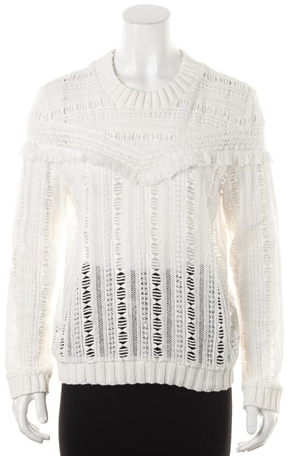 SEA NY White Sheer Abstract Fray Trim Crewneck Open Knit Sweater