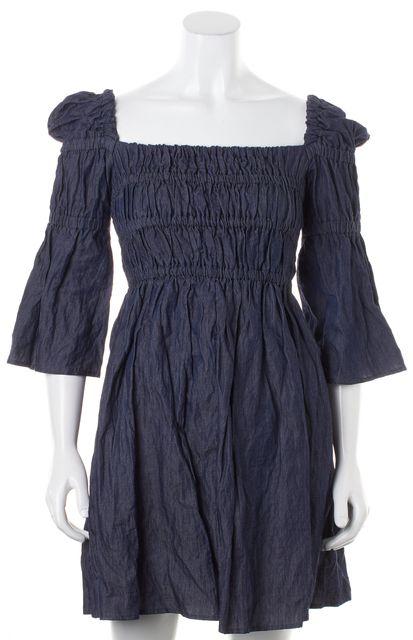 SEA NY Blue Chambray Princess Sleeve Fit & Flare Dress