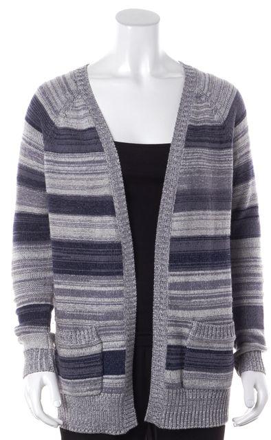 SOFT (JOIE) Blue Gray Striped Wool Pocket Front Open Cardigan