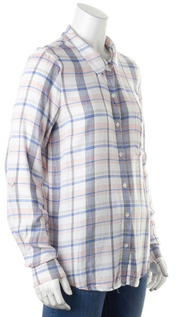 JOIE White Red Blue Black Plaid Roll-Tab Sleeves Button Down Shirt Top