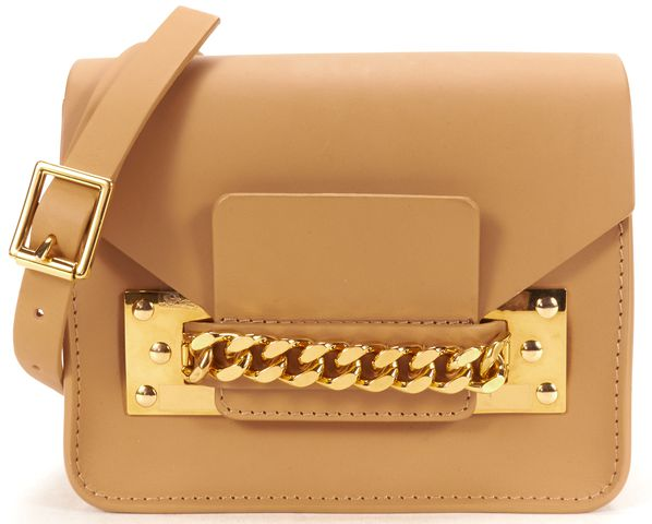 SOPHIE HULME Brown Structured Leather Mini Envelope Crossbody Bag