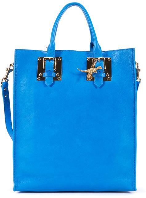 SOPHIE HULME Bright Blue Leather Buckle Adjustable Strap Tote Bag