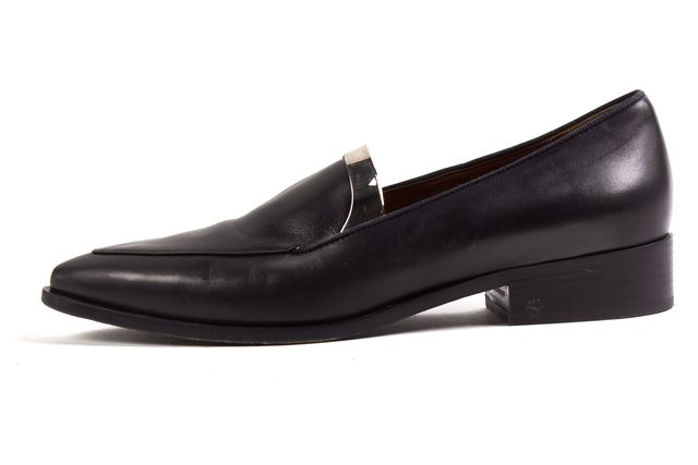 SPORTMAX By Max Mara Stop Black Leather Silver Trim Pointed Toe Loafers