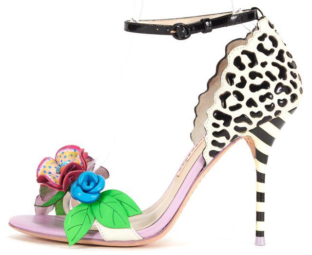 SOPHIA WEBSTER Lilico Floral Jungle Leather Ankle-Wrap Sandal Heels