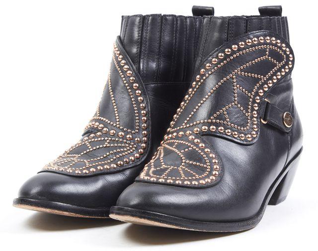 SOPHIA WEBSTER Black Embellished Leather Karina Butterfly Ankle Boots