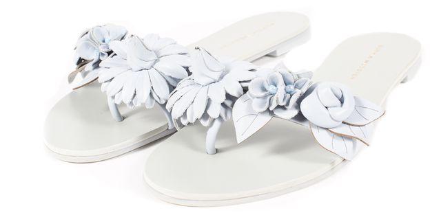 SOPHIA WEBSTER Blue Leather Lilico Floral Slide Flat Sandals