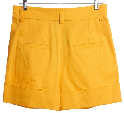SONIA RYKIEL Yellow A-Line Cotton Cuffed Shorts
