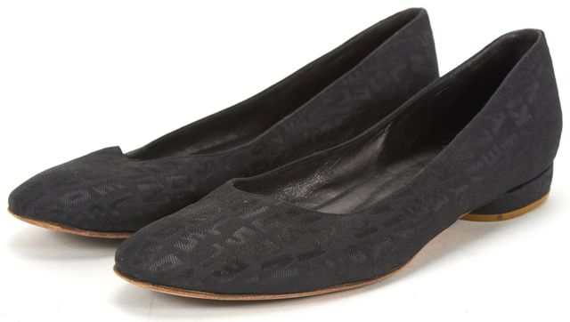 SONIA RYKIEL Black Monogram Canvas Flats