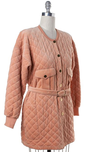 SONIA RYKIEL Peach Pink Quilted Belted Velour Coat Jacket